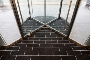 Brick Layout Entrance Matting in a revolving door