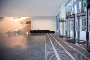 Image showing Entrance Matting and dark smooth flooring beyond in an office building
